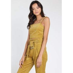b5140670668 Honey Punch Mustard Yellow Taryn Corduroy Crop Top